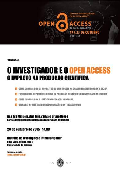 O Serviço Integrado das Bibliotecas da Universidade de Coimbra (SIBUC) em parceria com o Instituto de Investigação Interdisciplinar da Universidade de Coimbra (IIIUC) vai realizar um Workshop no dia 20 […]