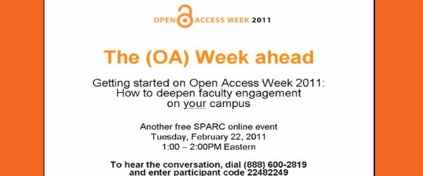 No passado dia 22 de Fevereiro Heather Joseph e Jennifer McLennan, em representação da SPARC, promoveram um webcast para apresentação da Open Access Week 2011, onde procuraram sensibilizar, celebrar os […]